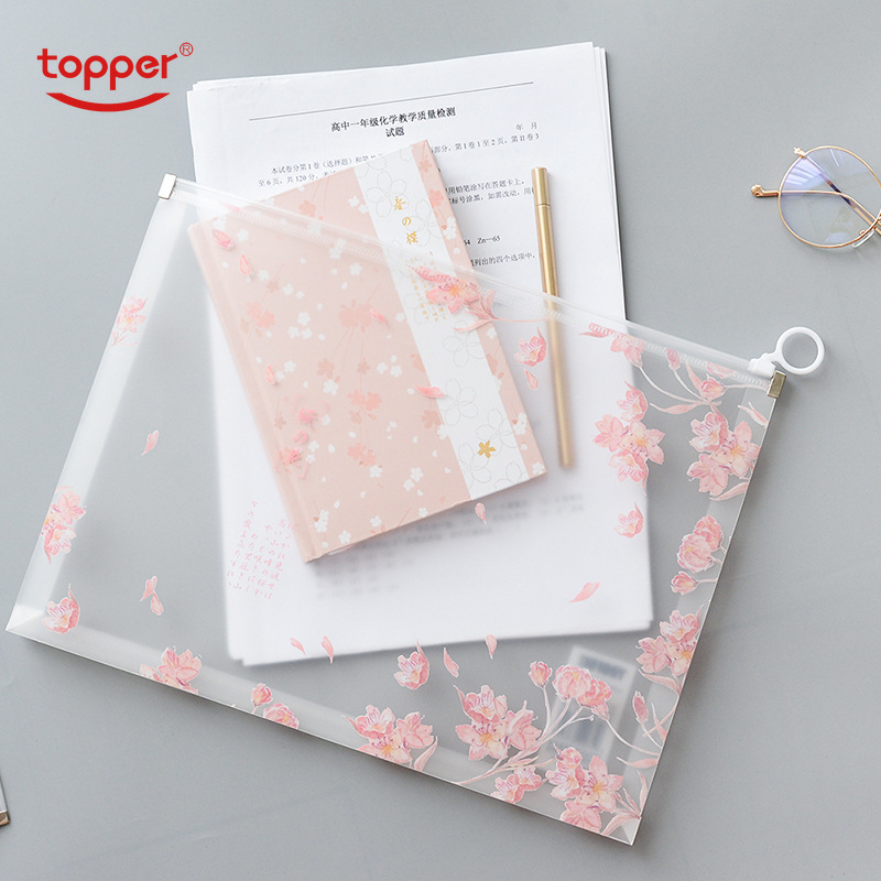 TOPPER A4 Print Zipper Bag PP Translucent Multi-function Data Storage Bag File Bag Large-capacity Pencil Bag Stereo