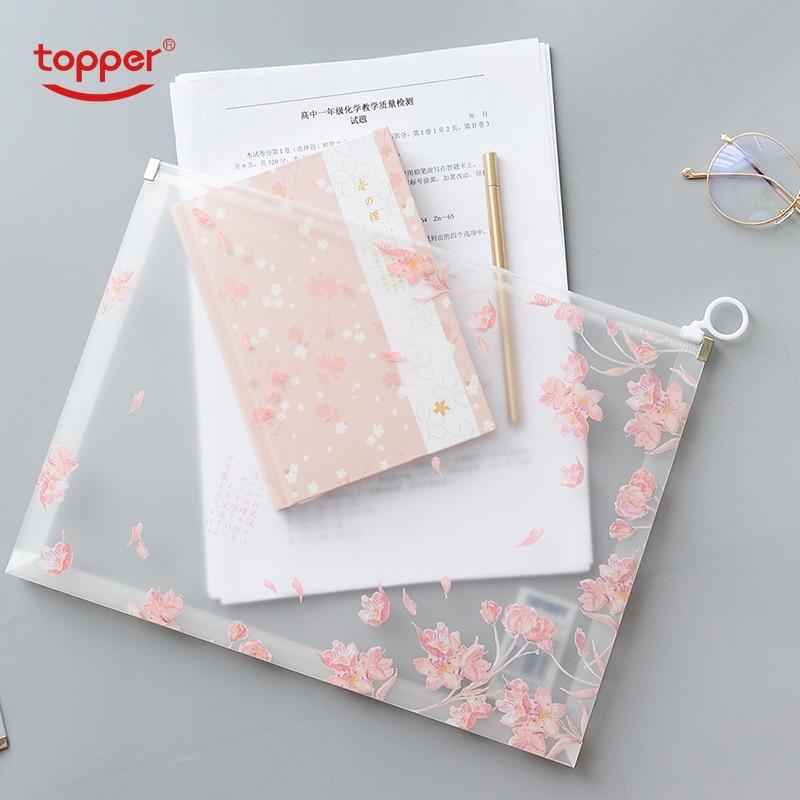 TOPPER A4 Print Zipper Bag PP Translucent Multi-function Data Storage Bag File Bag Large-capacity Pencil Bag Stereo