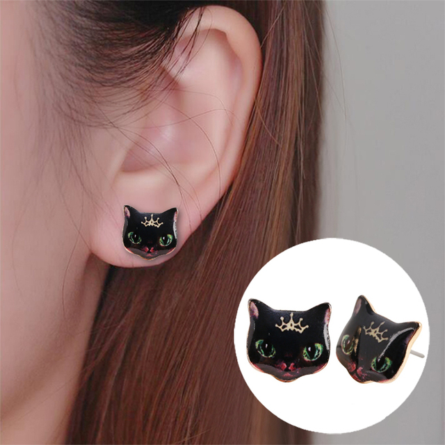2017 New Fashion Designed Cute Animal Stud Earrings Black Cat For Women Oed012