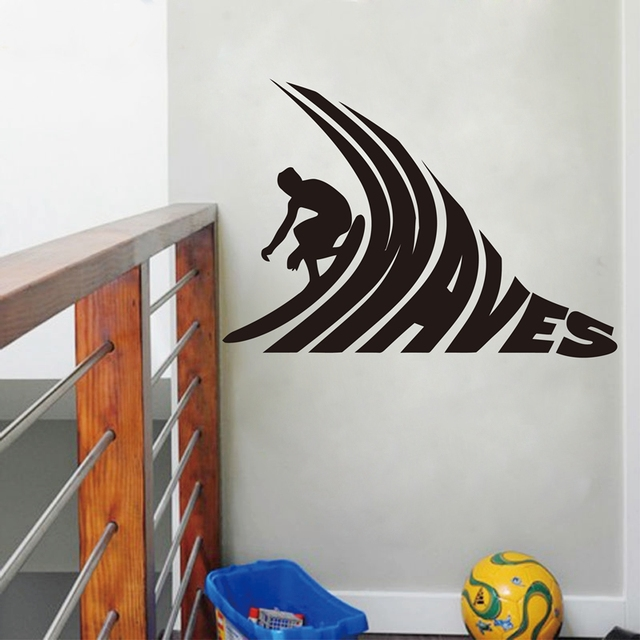 Surfer riding surfing vinyl wall stickers surf van vinyl wall art decals free shipping