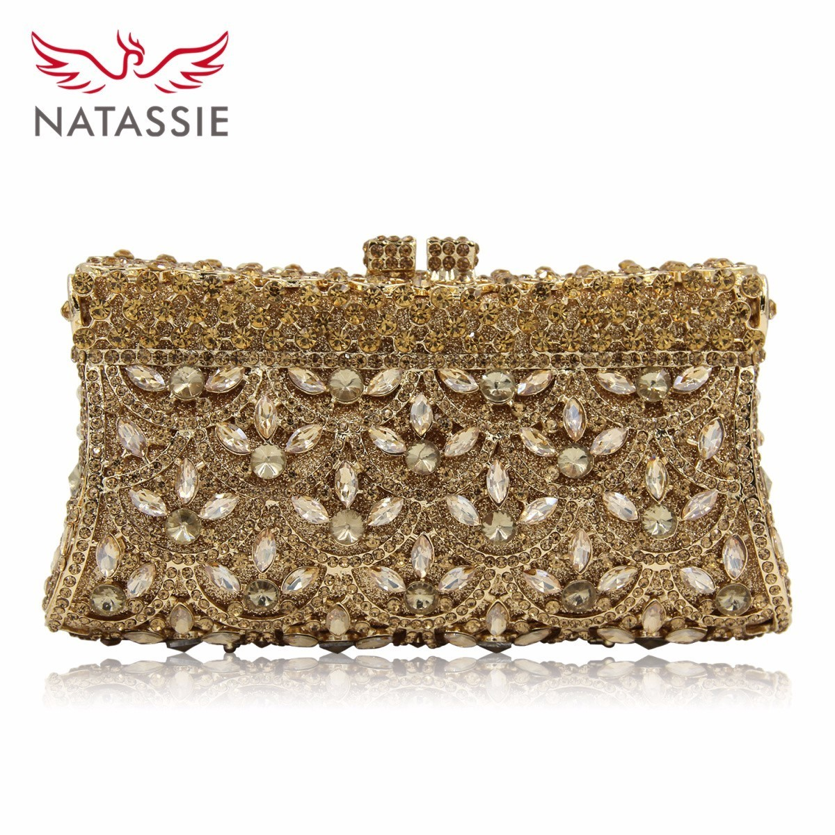 Natassie New Design Luxury Crystal Clutch Women Evening Bag Gold Red Ladies Wedding Banquet Party Purses Good Quality newest design evening bags ring diamond clutch chain shoulder bag purses wedding party banquet bag blue gold green red 88621 d