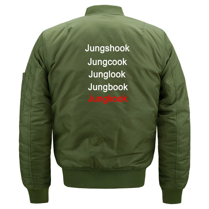 Funny Kpop BTS Jungkook Fans Quilted Bomber Jacket for Women and Men Cute Ladies Korean Band Bangtan Boys Jacket Plus Size S-5XL 1