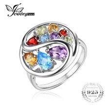 Jewelrypalace moda 1.8ct natural amethyst citrino granate peridoto topacio azul suizo anillo de cóctel 925 joyería de plata esterlina