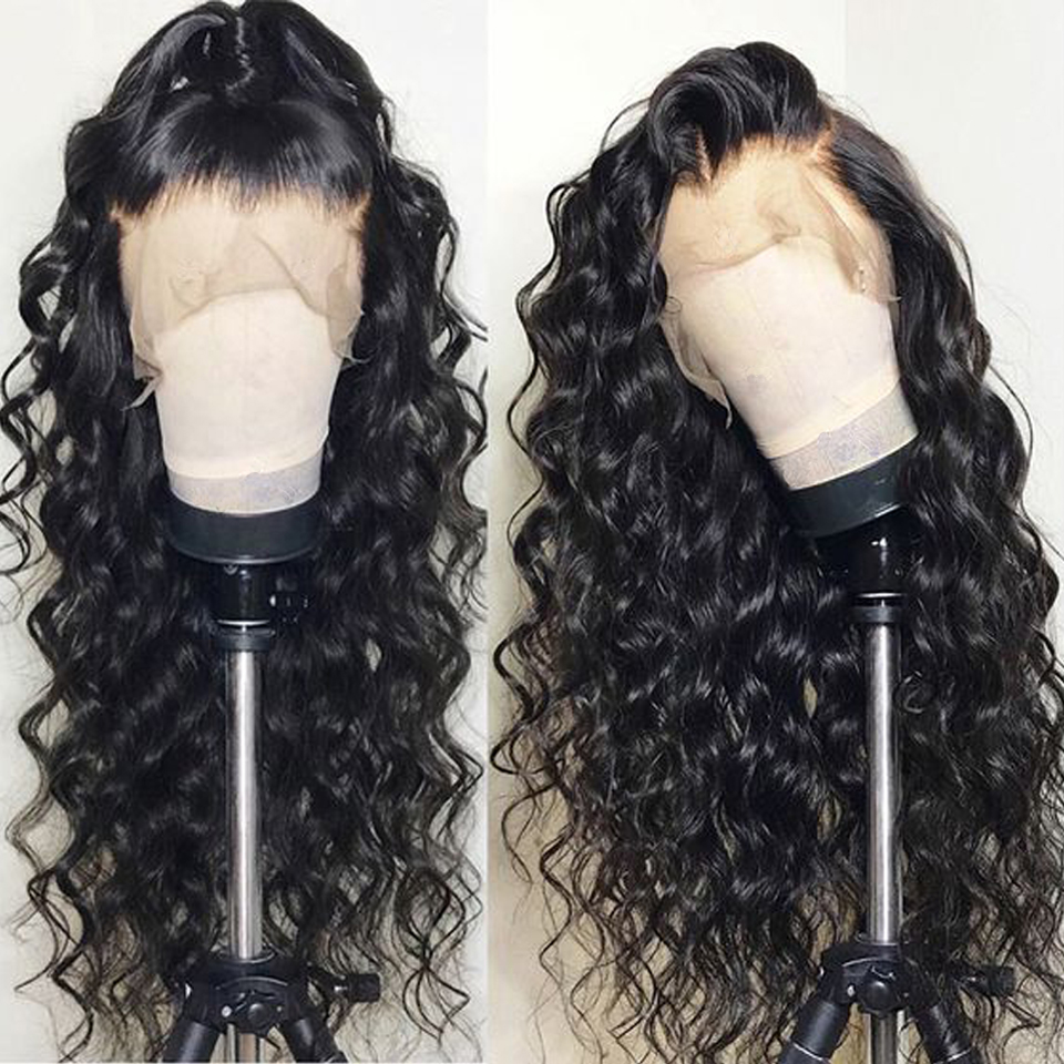 Pre Plucked Lace Front Human Hair Wigs For Black Women Natural Color Loose Wave Brazilian Remy