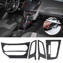 DWCX New Car Interior Molding Center Console Carbon Fiber Molding Stickers Decal for Ford Focus 3 MK3 2012 2013 AT Automatic