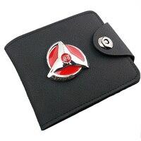 Sharingan אנימה נארוטו קוספליי ארנק עור שחור לוגו סגסוגת פאנק גברים נשים ארנק כסף תיק ארנקי בעל כרטיס