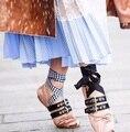 Lace up Ballet Sapatos de Design Da Marca Mulheres Flats Bowtie Dedo Do Pé Redondo Estilo Punk Moda Bailarinas Alpercatas de Couro Macio XWA0312-5