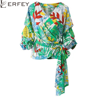 LERFEY Women Ruffles Blouse V Neck Ladies Elegant Floral Print Tops Clothing Shirts Female Clothes Blouses Shirt with Bow Tie