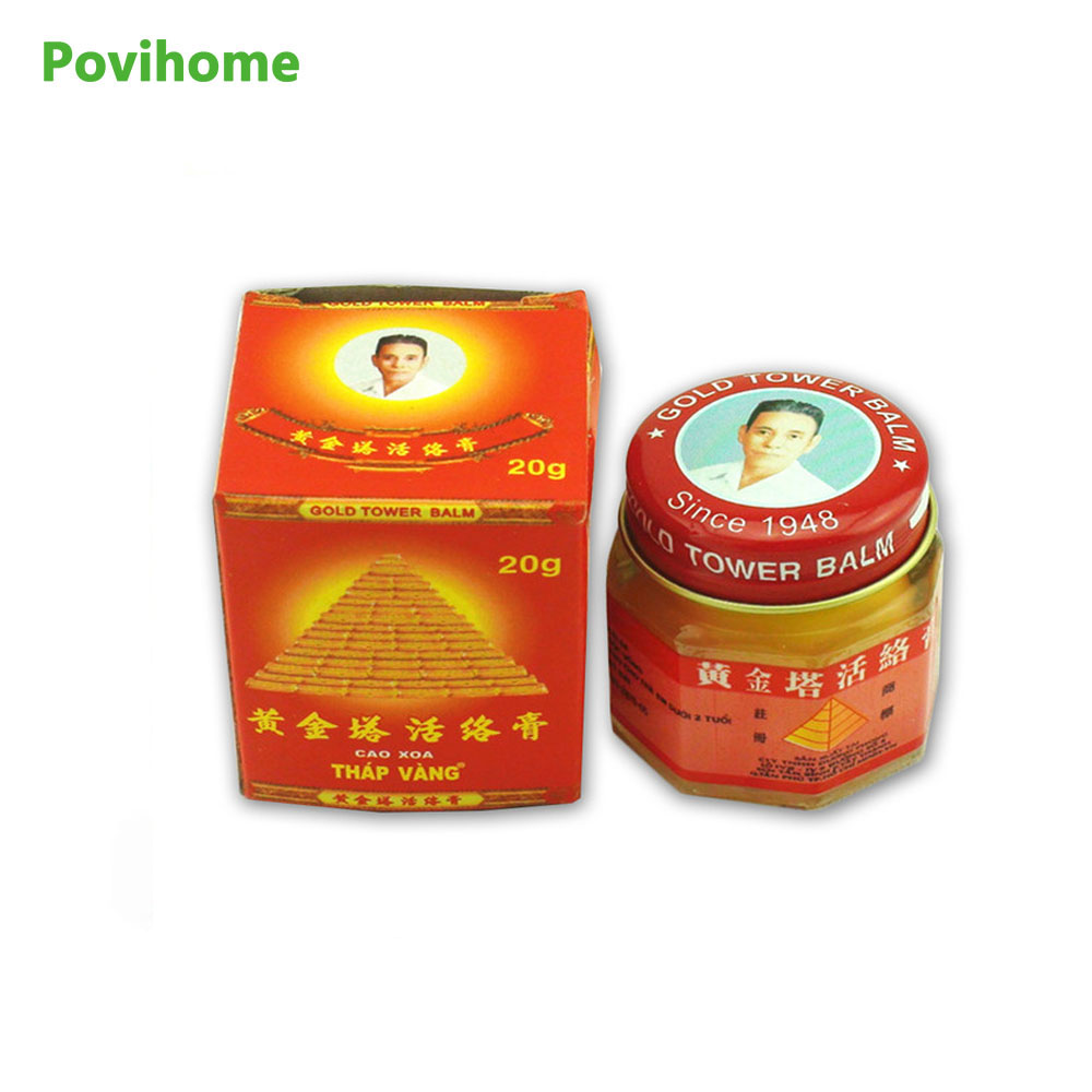 Povihome 100% Original Vietnam Gold Tower Balm Ointment Pain Relieving Patch Neck Body Massage Arthritis Massager D0170 white tiger balm ointment soothe insect bites itch strength pain relieving arthritis joint massage body care oil cream l37