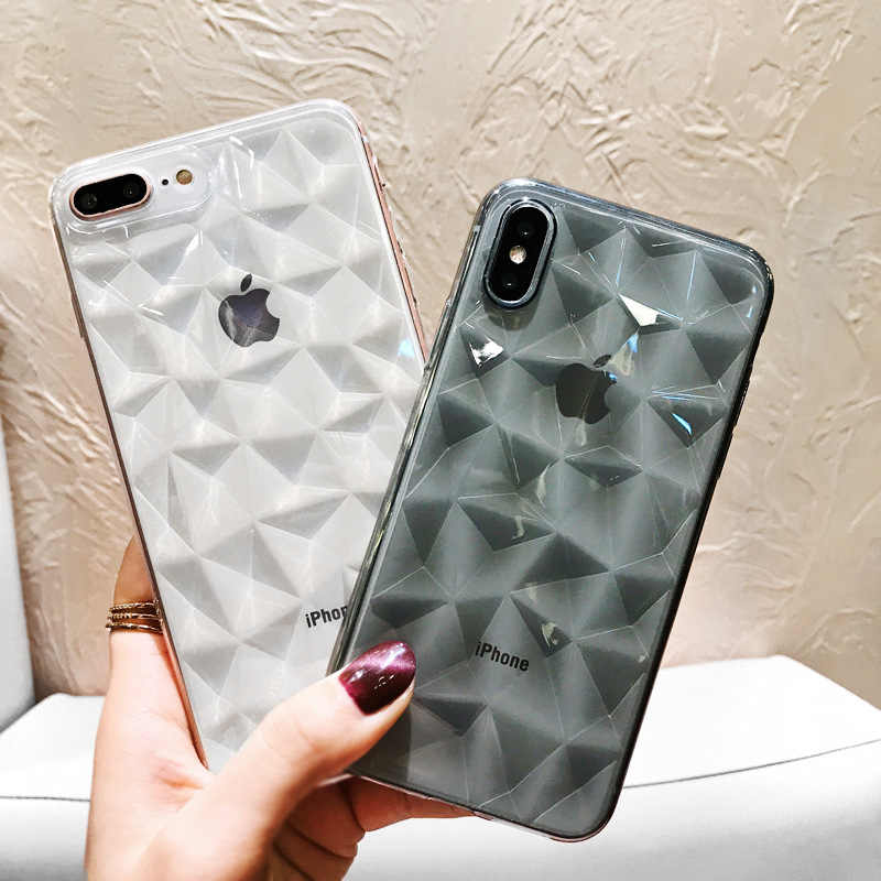 3D Soft Diamond Case For iPhone 7 8 Plus XS Max X XR Luxury Transparent Ultra Thin Phone Cover for iPhone 6s 6 SE 5S 5 Coque