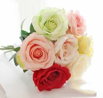 Roses Artificial Flowers Wedding Decoration Flower Sweetheart Roses Silk Artificial Flower Home Garden Decor Rose Flowers fake rose flowers