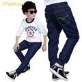 Kindstraum nova primavera crianças calças jeans meninos calças de cintura elástica para crianças meninos moda jeans calças de algodão calças casuais, mc441