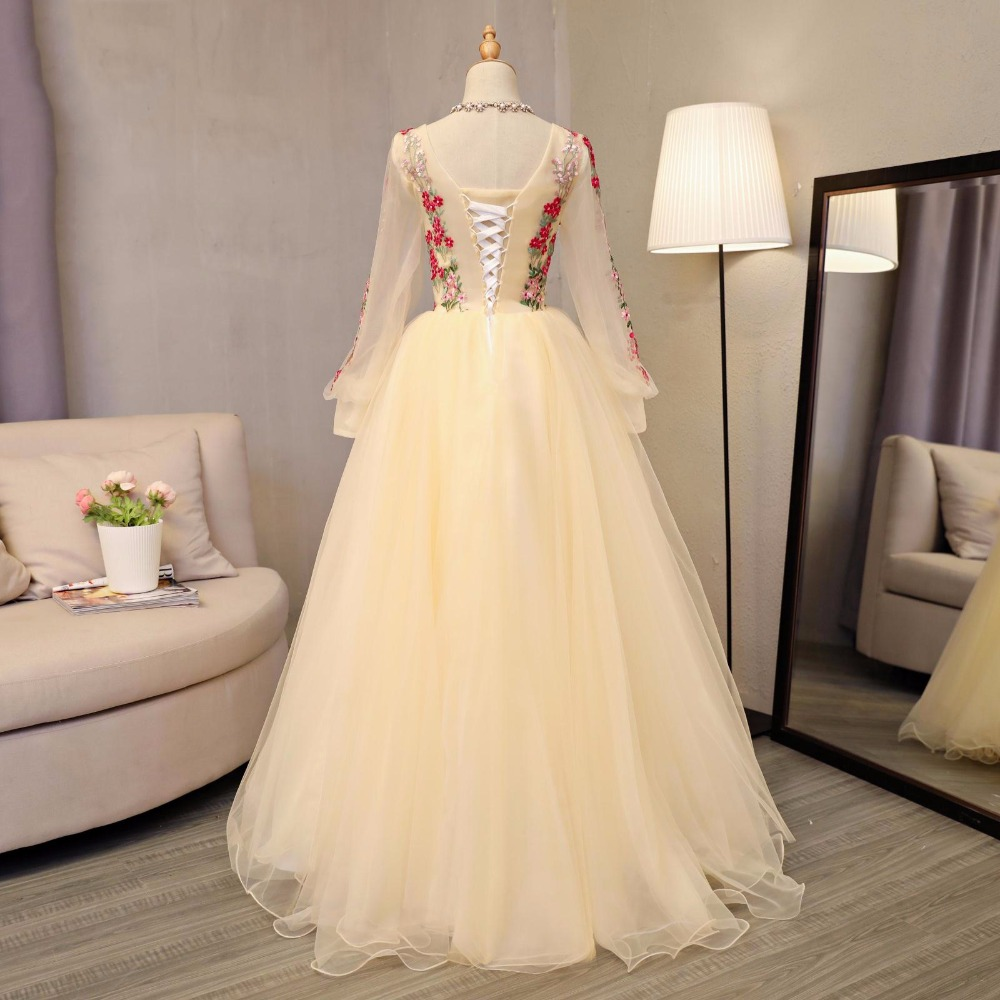 Floral Embroidery Evening Formal Dresses Full Sleeves Floor Length Prom Party Ball Gown vestido de noiva Women Evening Ball Gown - 3