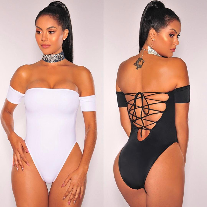 Olrain 2017 Summer Womens Sexy Bikini Skinny Strapless Off Shoulder Bodysuit Lace Up Back Cross Playsuit Jumpsuit Overall