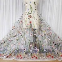 1M Lot Summer High End Fabric Polyester Multicolor Leaves Embroidered Cloth White Black Wedding Dress Clothing