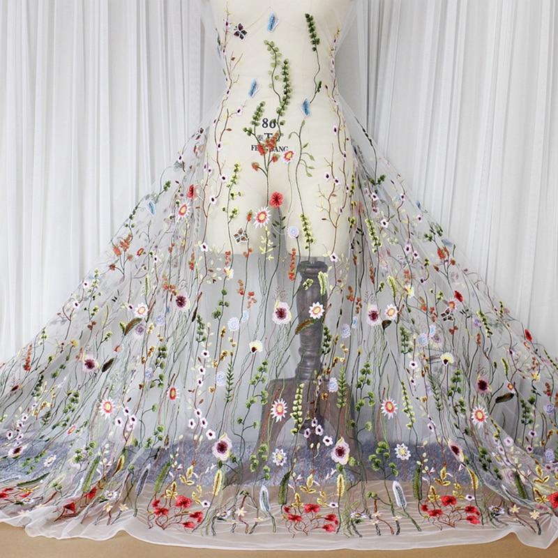 1M / Lot Summer high-end tkanina polyester vícebarevná listy vyšívané látky White Black Wedding Dress Clothing Accessories new