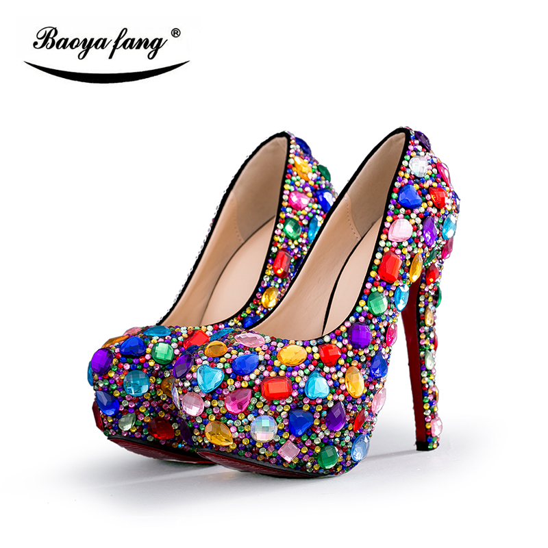 Big Multicolor Crystal Wedding shoes Bride platform shoes women fashion Party dress shoes woman high heels shoes baoyafang luxury blue crystal womens wedding shoes bride high heels platform shoes woman party dress shoes female high pumps