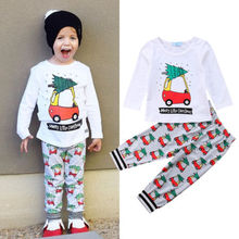 Купить с кэшбэком Emmababy 2pcs Xmas Clothes Toddler Baby Boy Girl T-shirt Top Pants Leggings Outfit Set Kids Christmas Pajamas Clothing