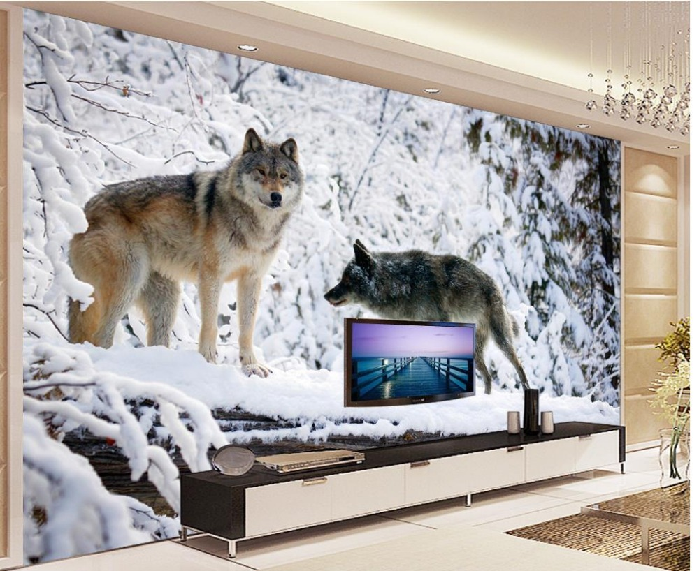 Custom photo wallpaper Snow Wolf modern minimalist TV ...