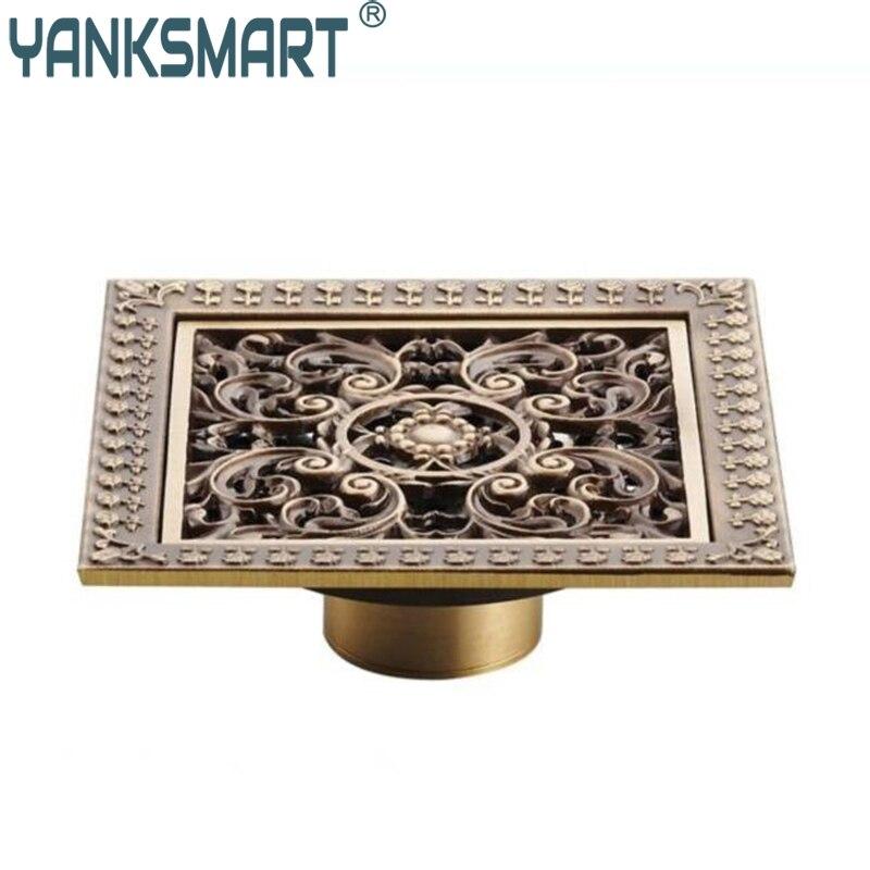 YANKSMART Luxury Antique Brass shower Bathtub Bathroom Floor Drain Filter Sink Strainer Waste