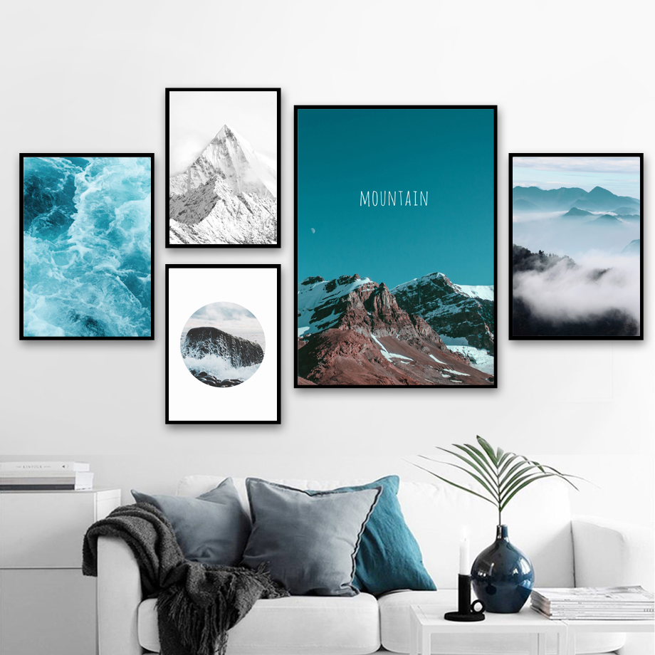 Sea Snow Mountain Nordic Posters And Prints Wall Art Canvas Painting Wall Pictures For Living Room Scandinavian Home Decor in Painting Calligraphy from Home Garden