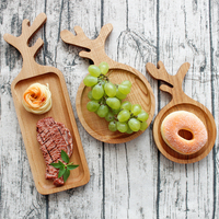 Japan Style Wood Desserts Plate Creative Antlers Shape Eco Natural Cutting Boards Fruits Plate Multi Use Handmade Storage Trays
