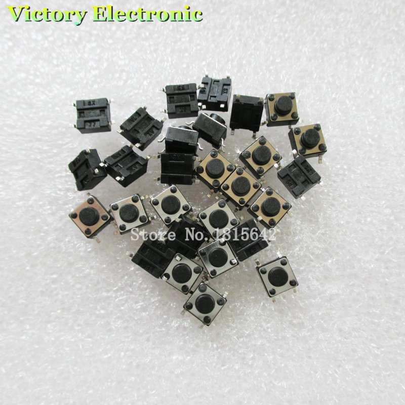 Active 50pcs/lot 6x6x5mm 6*6*5mm Chip Smd Button Plastic Head Tact Switch Push Bottun Switch 4 Pin Switch Wholesale Electronic Electronic Components & Supplies Integrated Circuits