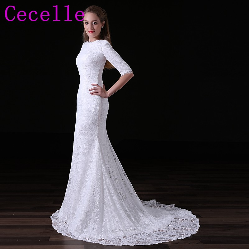 520a05fb147c6 2019 Real Photo Mermaid Lace Modest Wedding Dresses With Half ...