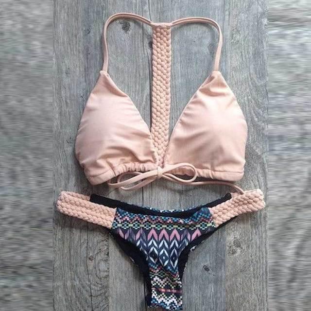 3ee8d5b351 summer style Agent Provocateur Bikiniebay Europe and America geometric  pattern split sexy bikini thong swimsuit Taping