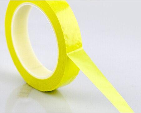 2 Rolls (21mm*66M*0.06mm) Transformer Insulation PET Anti-Flame High Temperature Adhesive Mylar Tape Yellow