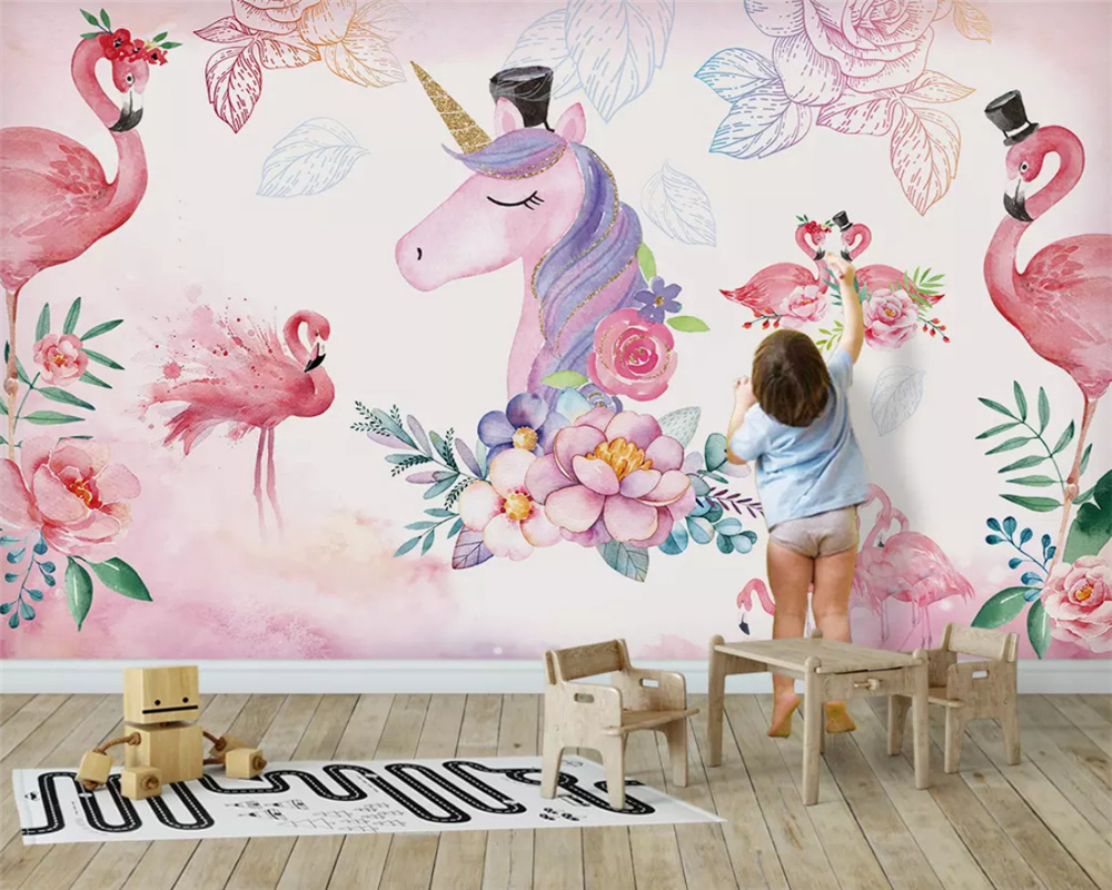 Us 8 7 42 Off Beibehang Customized Modern Environmental Wallpaper Pink Nordic Simple Unicorn Children S Room Background Wallpaper Papier Peint In