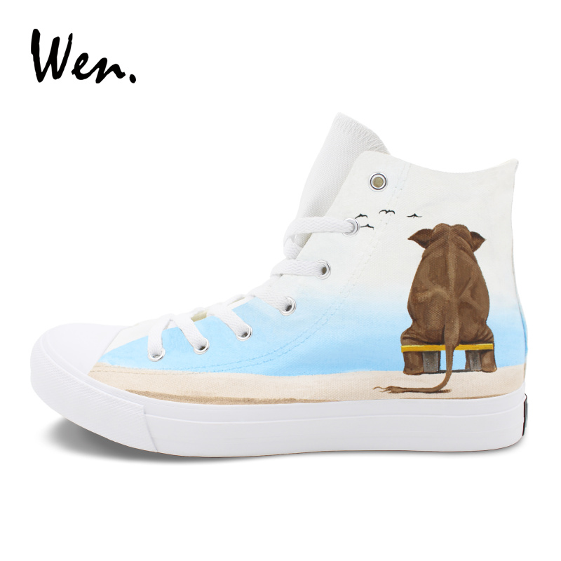 Wen Original Design Elephant Shoes White Canvas Hand Painted Sneakers Athletic Sport Flat High Top Lace Up Skate Shoes wen men women sneakers white anime design tokyo ghouls hand painted canvas shoes classic athletic sport skate flat