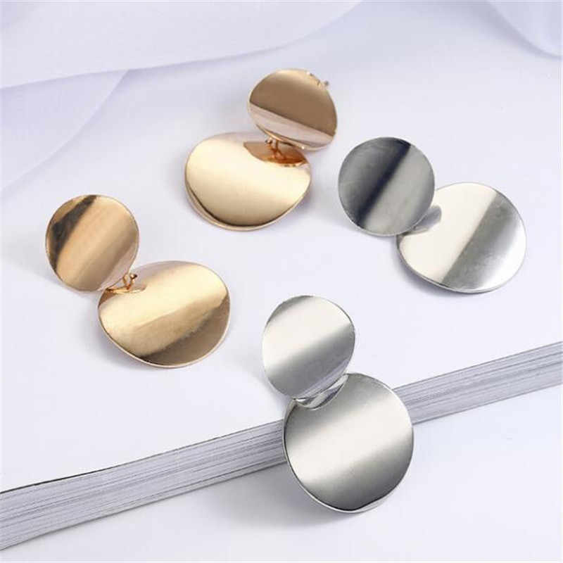 2018 woman statement earrings simple round metal geometric earrings gold and silver pendant big Earrings for Women jewelry A003