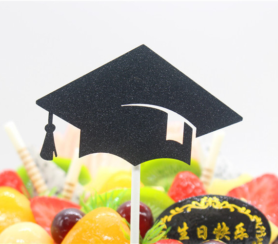 1pc Graduation Cake Flag Creative Bachelor Cap Topper Flags PH.D Hat Cake Flags For Graduation Party Cake Baking Decoration