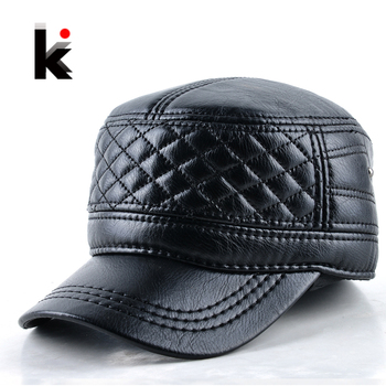 2018 Mens leather hat winter warm military style baseball cap with ear flaps russia flat top hats for men casquette 1