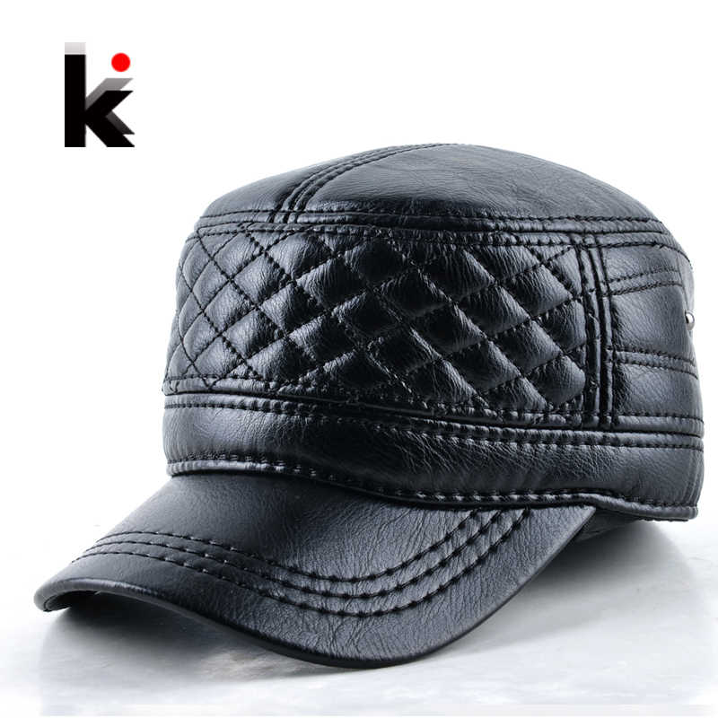 2018 Mens leather hat winter warm military style baseball cap with ear flaps russia flat top hats for men casquette