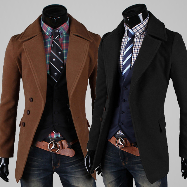 2016 New Direct Selling Turn-down Collar Woolen Half Novelty Men's Clothing Overcoat Brief Large Lapel Male Wool Coat Outerwear