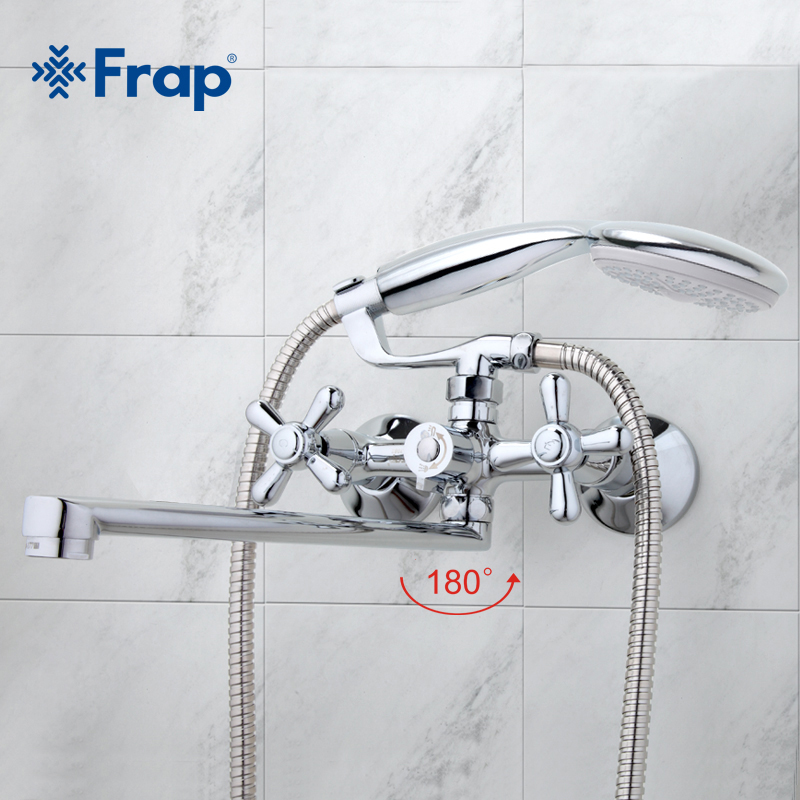 FRAP Traditional Bathroom Faucets 300mm Long Water Outlet Tube Move 90 Degrees Left And Right F2225 F2224