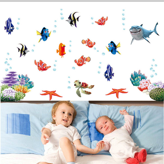 under sea shark fish 3d cartoon waterproof vinyl wall decals wall decor kids