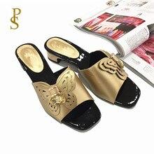 Chaussures style africain pour femmes, pantoufles de maman à talons bas
