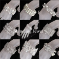 New Clear Bridal Wedding Bracelet Bangle Rhinestone Crystal Pearls Stretch Bracelet Perfect Wedding accessoreis for your Wedding