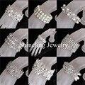 Nova limpar strass pérolas de cristal estiramento pulseira pulseira de noiva casamento perfeito accessoreis para o seu casamento