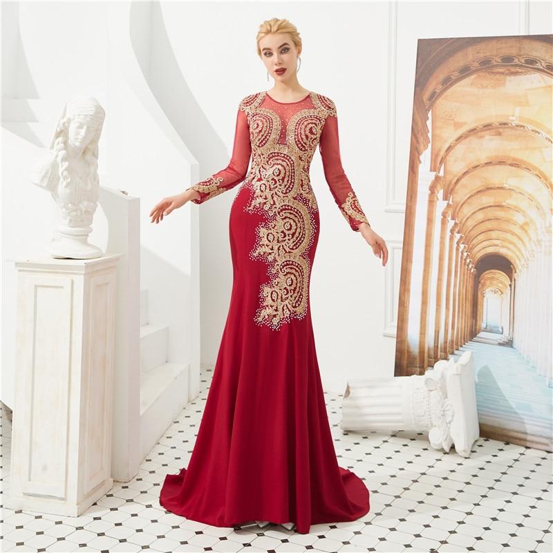 Vintage rouge sirène robe de bal O cou or Appliques cristaux à manches longues robes de soirée pour les femmes élégant fête porter sur mesure
