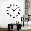 Roman Numeral Wall Clock DIY Large 3D Mirror Surface Sticker Wall Clock Decor