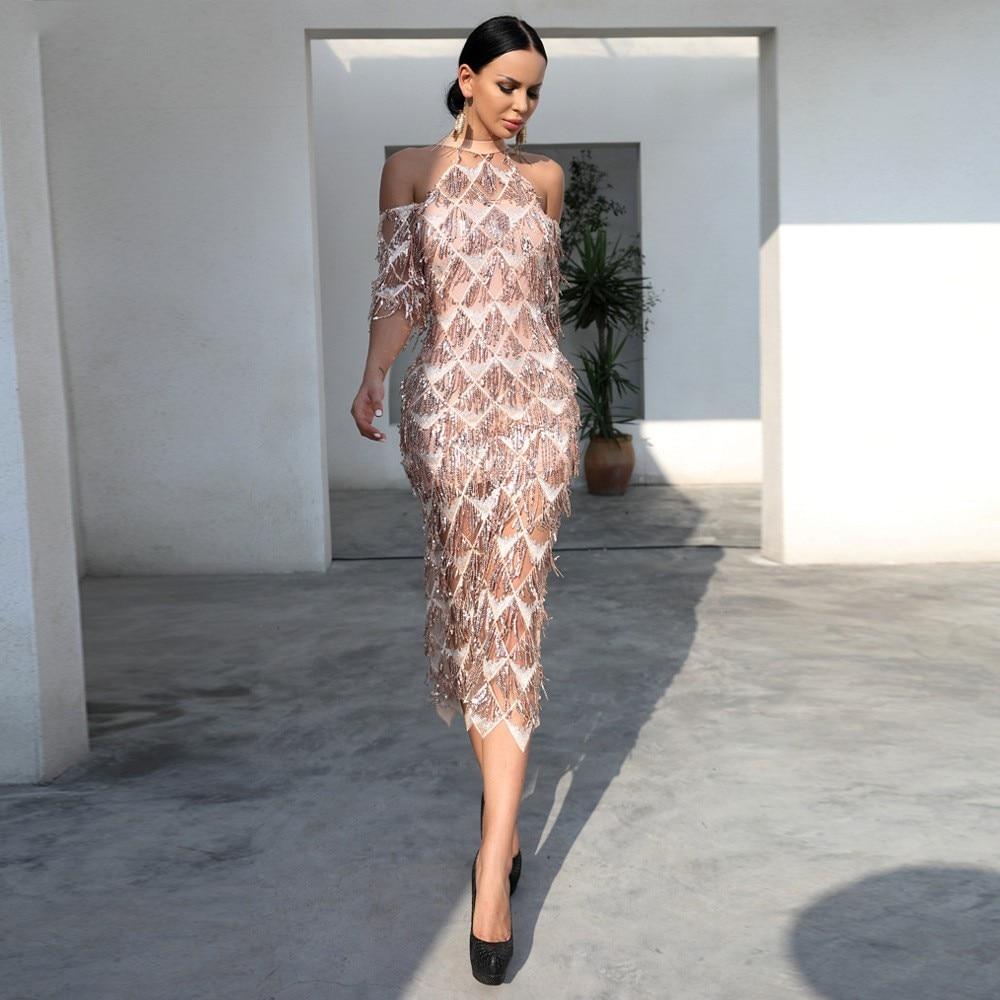 2019 Cheap Arabic Tea Length Short Evening   Dress   with Sleeves High Neck Rose Gold Sequins Tassel Split Party   Prom     Dresses
