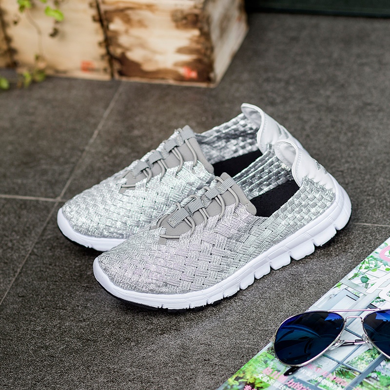 ФОТО Casual lovers Shoes Newest 2017 seasons Fashion woven Shoes Woman Flat Round Toe Ladies Handmade black grey  Shoes free shipping