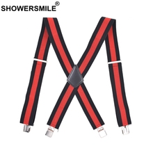 SHOWERSMILE Striped Suspenders For Shirt Red Wide Mens Trousers Suspenders Braces 5cm Male X Back Suspender Men Leather 4 Clip