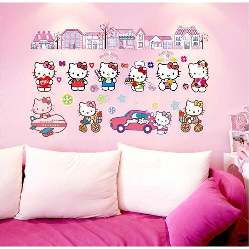 3d Wall Sticker Children's Background Wall Decoration Stickers Stickers For Hello Kitty Kitty Df9908 Kindergarten