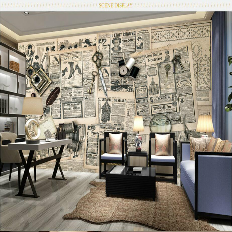 Custom 3D Wallpaper for WallsRetro newspaper 3d Wall Paper Background Painting Mural Wallpapers Home Improvement Decorate