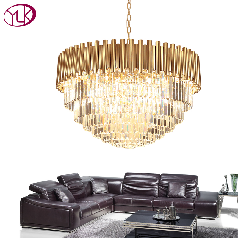 Youlaike Top Luxury Modern Chandelier Crystal Light Living Room Dining Room Gold Steel Lighting Fixtures LED